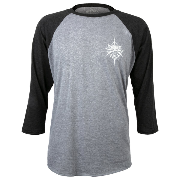 View 2 of The Witcher 3 Wolf School Men's Raglan photo. alternate photo.