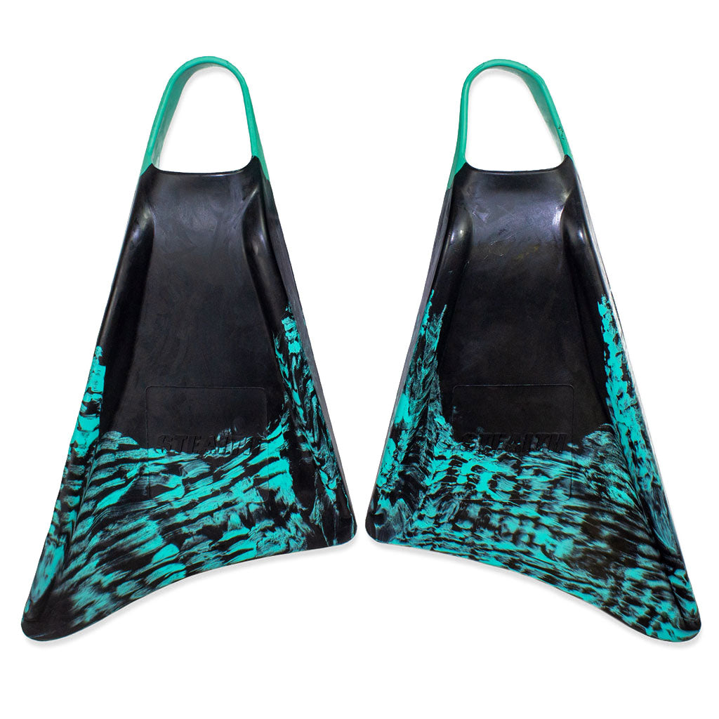 Stealth Fins S1 Supreme - Black / Teal - Body Surfing Fins