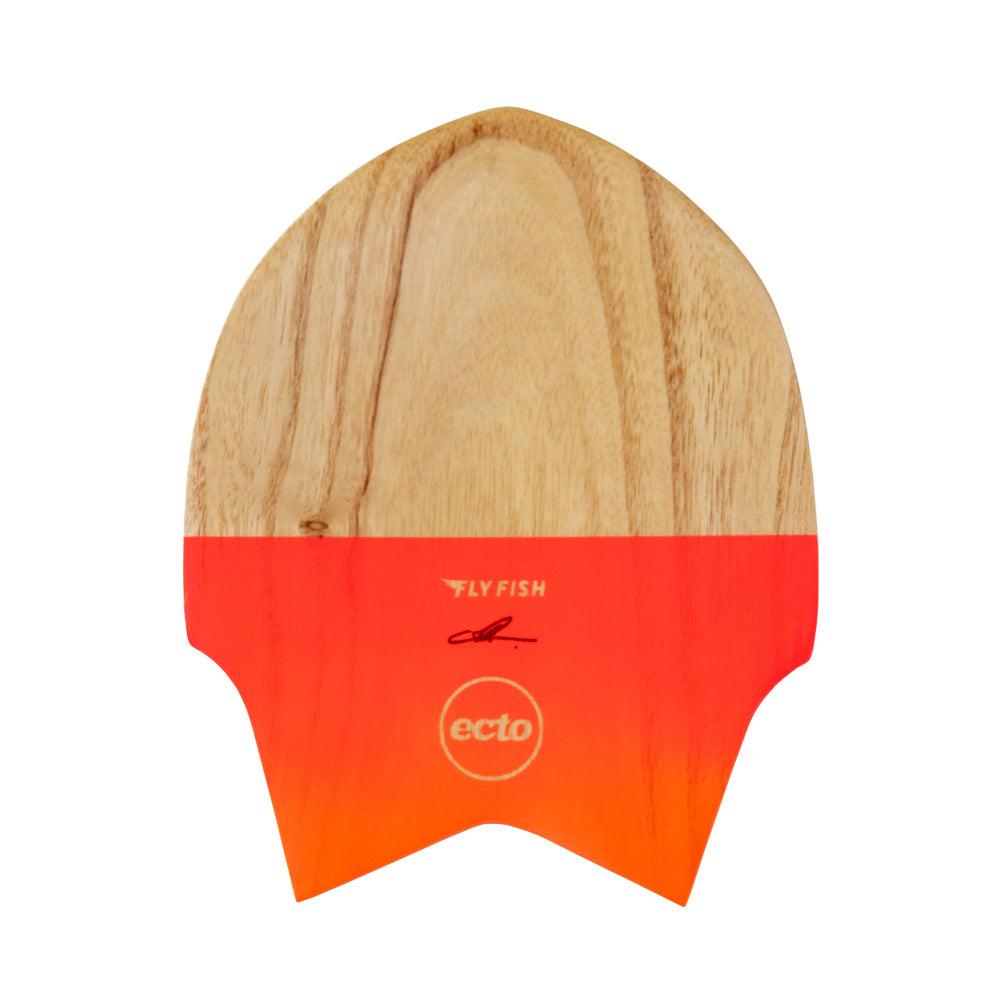 "Ecto Bodysurfing Handplane - FLY Fish Wood 9"" (Mango Red) - FREE SHIPPING (AUS)"