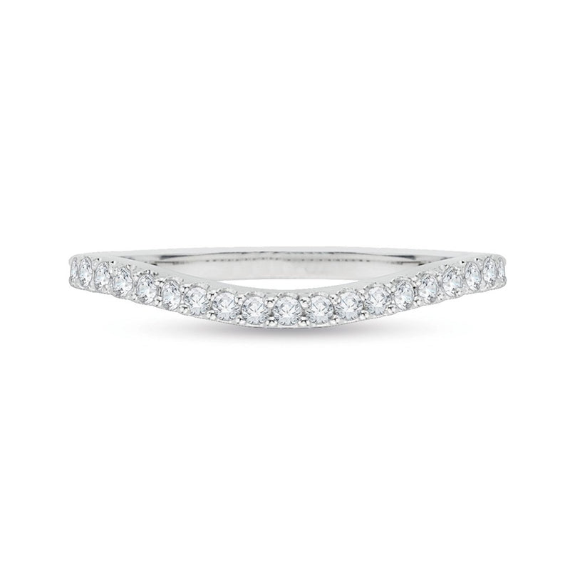 Curved Diamond White Gold Band