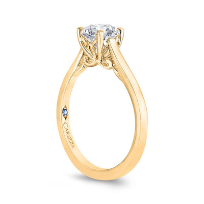 Round Diamond Solitaire Yellow Gold Ring