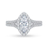 Two-toned Marquise Halo Engagement Ring