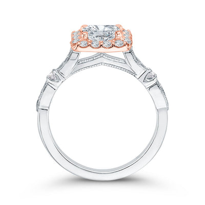 Halo Cushion Two-toned Engagement Ring