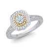 Two-tone Vintage Diamond Halo Engagement Ring