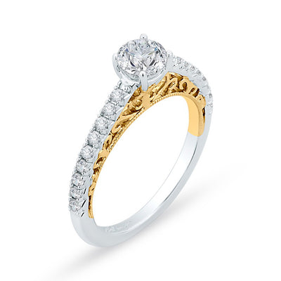 Two-toned Diamond Engagement Ring