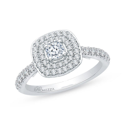 Double Halo Cushion Engagement Ring