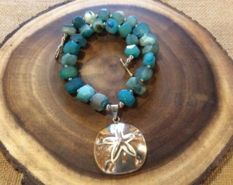 Agate and Sterling Sand Dollar Pendant Necklace