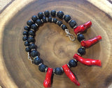 Bamboo Coral and Black Lava Necklace