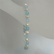 Children's Stretch Bracelet Pearls & Aqua Stone