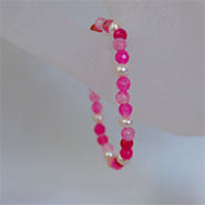 Children's Stretch Bracelet Pearls & Faceted Pink Crystal