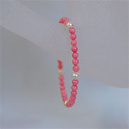 Children's Stretch Bracelet Pearls & Coral Stone
