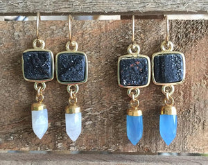Druzy Agate with Spike Drop Earrings