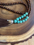 Long Wood and Magnesite Necklace with Brown Leather Tassel - Strand View