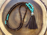 Long Wood and Magnesite Necklace with Brown Leather Tassel
