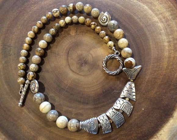 Picture Jasper and Broken Fish Necklace