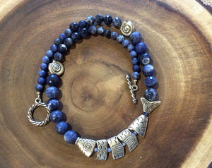 Sodalite and Broken Fish Necklace