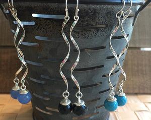 Sterling Silver Spiral Earrings with Gemstone Drop