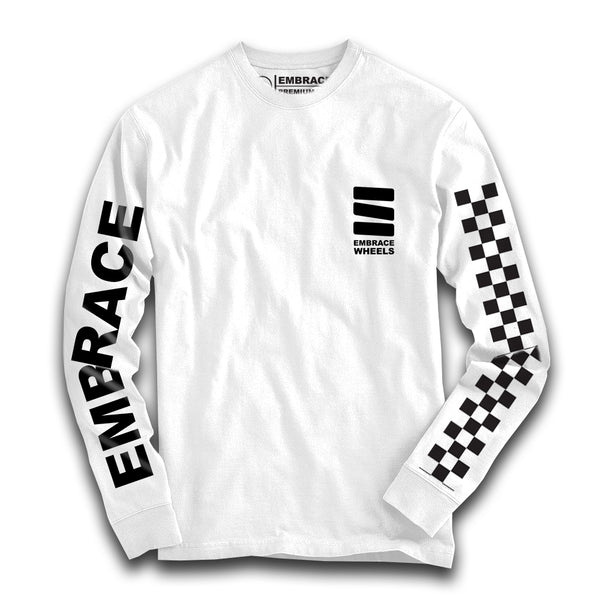 "-Embrace ""LOGO"" long sleeve white tee - Siren Skate Shop"