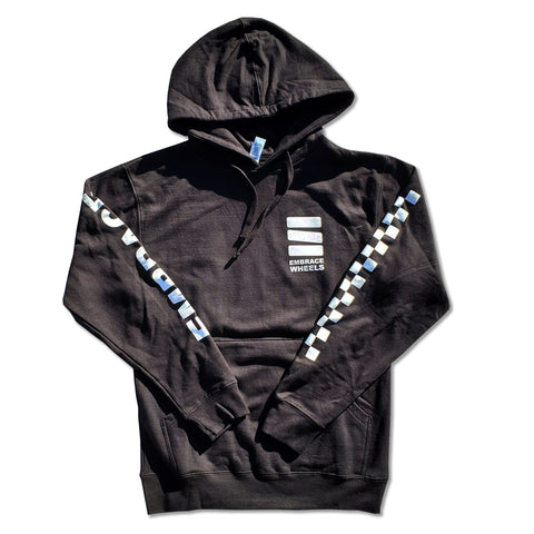 "Embrace ""LOGO"" checkered sleeve black hoodie"