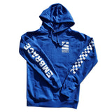 "Embrace ""LOGO"" checkered sleeve royal blue hoodie"