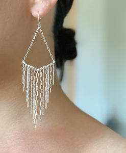 V fringe earrings