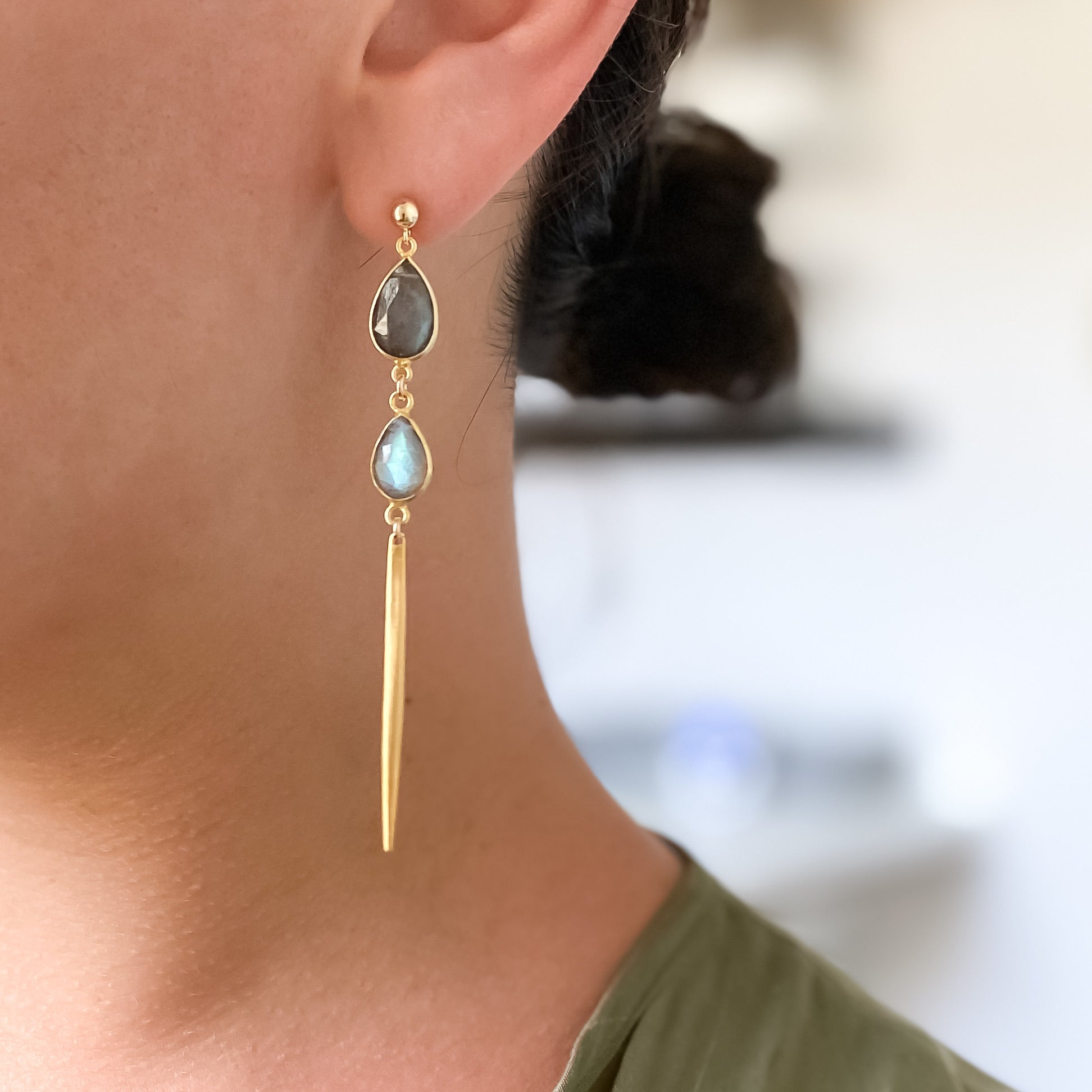 Double gem spike earrings