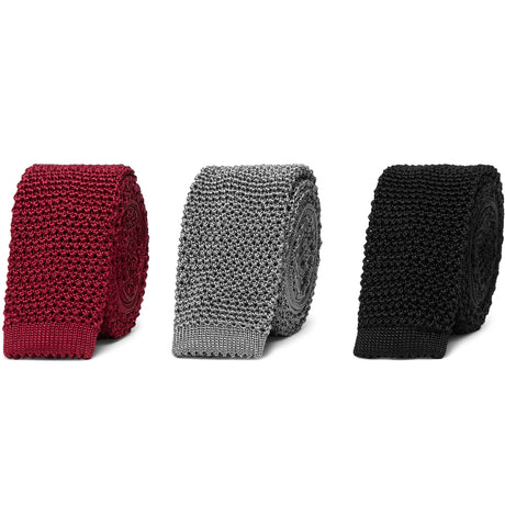 Set of Three 4.5cm Knitted Silk Ties