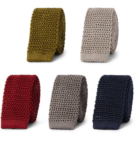 Set of Five 4.5cm Knitted Silk Ties