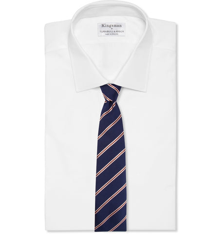 '+ Drake's 8.5cm Striped Silk and Cotton-Blend Faille Tie