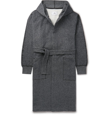 Fleece-Back Cotton-Jersey Hooded Robe