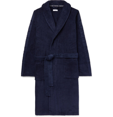 Logo-Jacquard Cotton-Terry Hooded Robe
