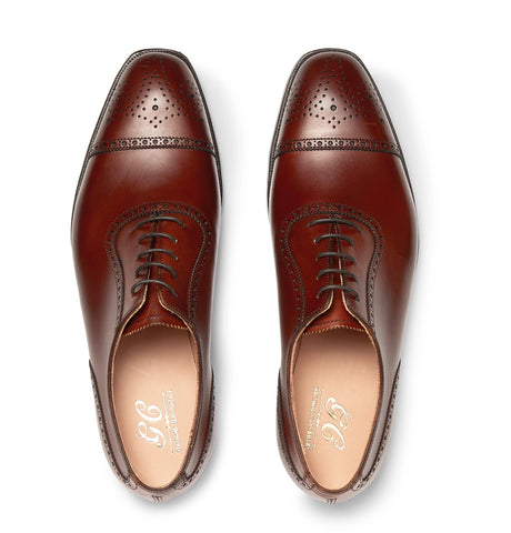 Adam Cap-Toe Burnished-Leather Oxford Brogues