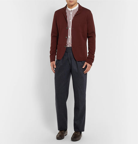 Manny Tapered Pleated Mélange Stretch-Wool and Cashmere-Blend Trousers