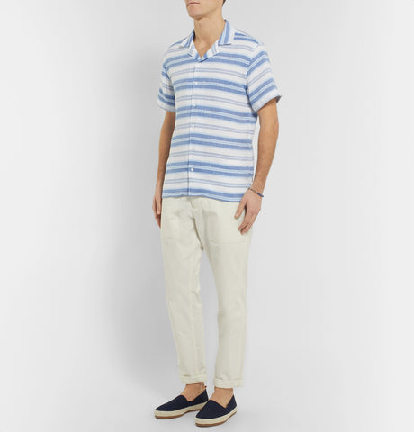 Travis Camp-Collar Striped Linen and Cotton-Blend Shirt