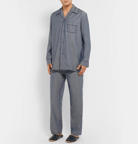 Contrast-Tipped Cotton Pyjama Set