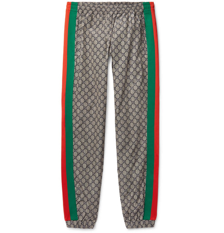 Webbing-Trimmed Logo-Print Shell Drawstring Trousers