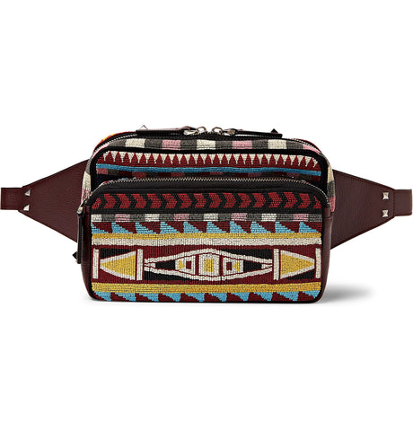 Beaded Twill and Leather Belt Bag