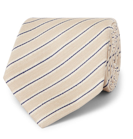 8cm Striped Silk and Linen-Blend Tie