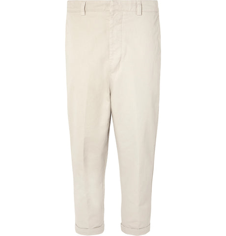 Cropped Tapered Cotton-Twill Trousers