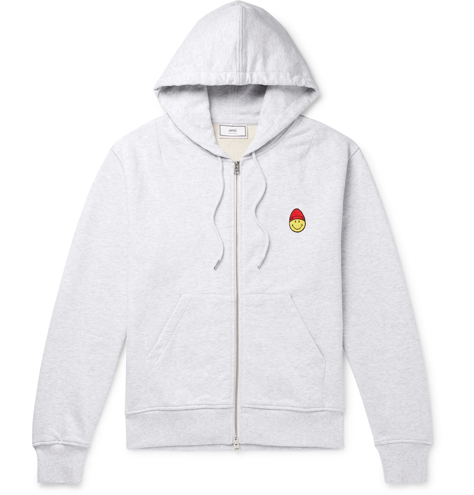 '+ The Smiley Company Logo-Appliquéd Mélange Loopback Cotton-Jersey Zip-Up Hoodie