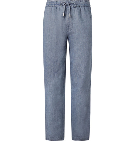 Wide-Leg Light-Blue Linen and Cotton-Blend Chambray Drawstring Trousers