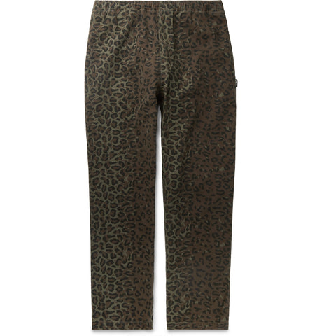 Leopard-Print Cotton-Twill Trousers