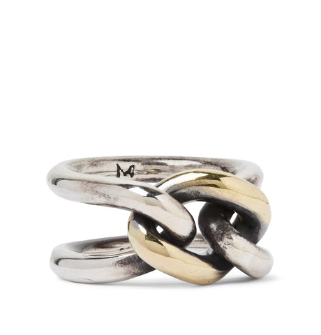 Chain Link 18-Karat Gold and Sterling Silver Ring