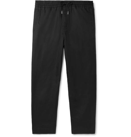 Black Slim-Fit Tapered Linen and Cotton-Blend Drawstring Trousers