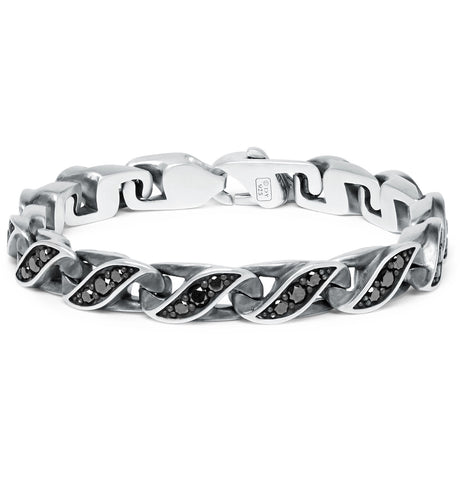 Graphic Cable Sterling Silver Diamond Bracelet