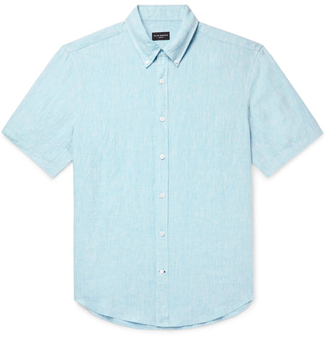 Slim-Fit Button-Down Collar Slub Linen-Chambray Shirt