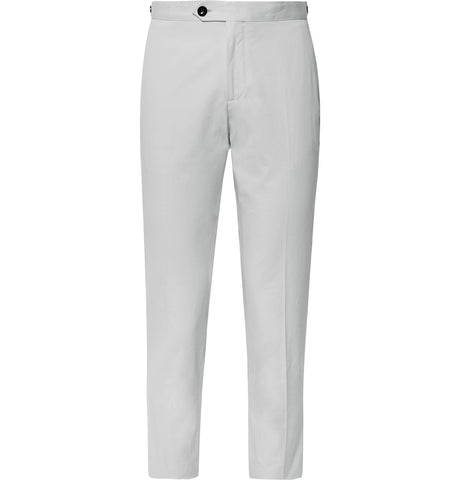 Slim-Fit Cotton-Twill Cropped Trousers