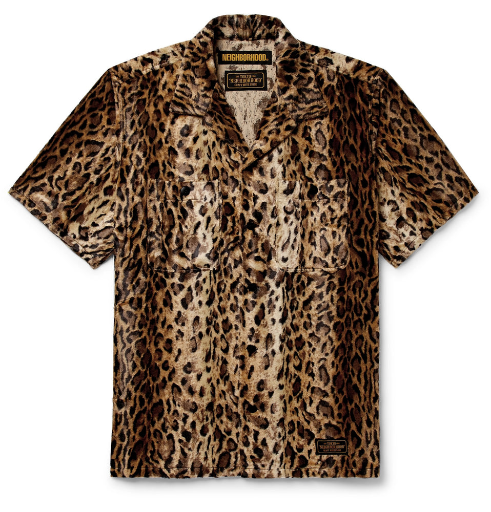 Camp-Collar Leopard-Print Faux Fur Shirt