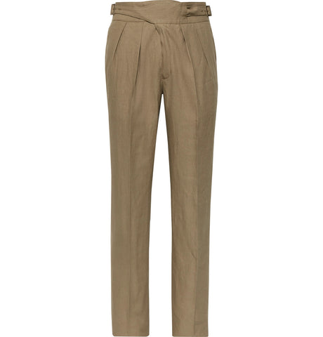 Manny Tapered Pleated Linen Trousers