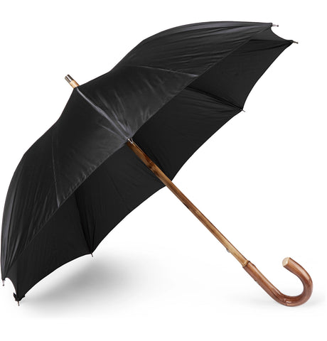Lord Chestnut Wood-Handle Striped Umbrella